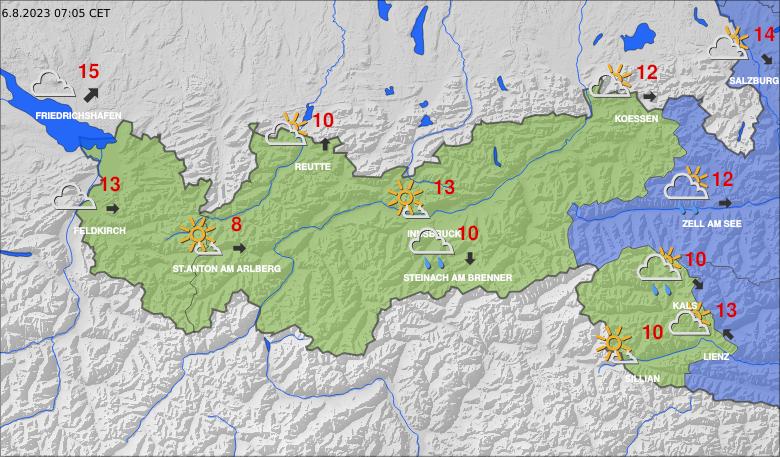 Aktuální počasí v Tyrolsku a Vorarlbersku