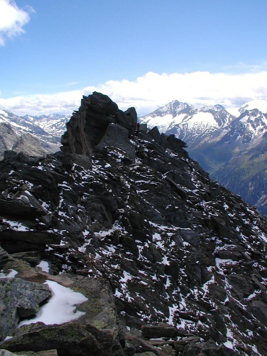 Druhý z vrcholů Ahornspitze