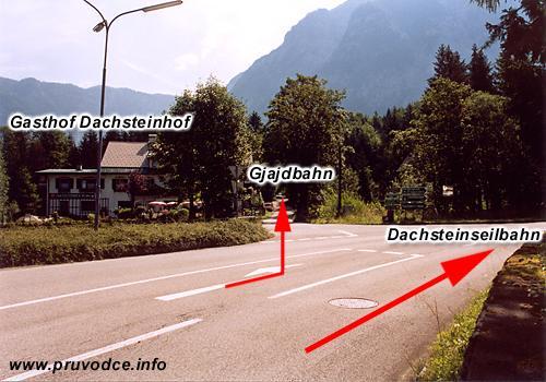 Odbočka ke spodní stanici lanovky Gjaidbahn