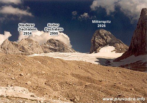 Niederer Dachstein, Hoher Dachstein, Mitterspitz a ledovec Grosser Gosaugletscher