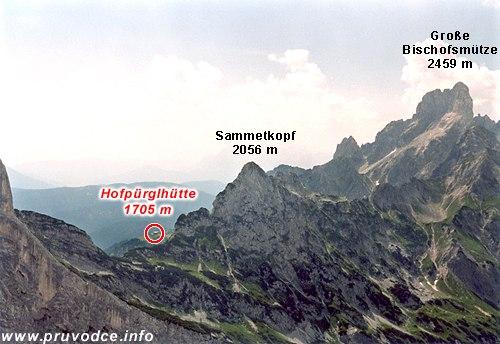Sammetkopf, Grosse Bischofsmütze a Hofpürglhütte