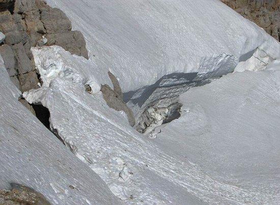 Odtrhová trhlina na Hällstatter Gletscher