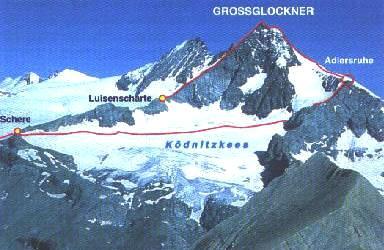 Výstupové trasy na Glockner vedoucí z jihu