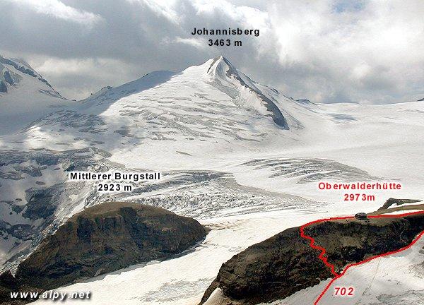 Johannisberg, Oberwalderhütte a Mittlerer Burgstall
