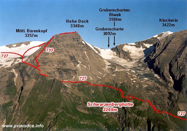 Mittlerer Bärenkopf, Hohe Dock, Gruberscharte, Klockerin a Schwarzenberghütte