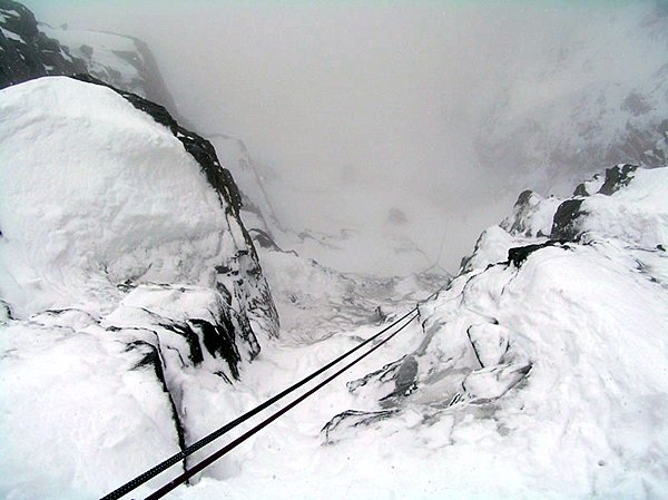 Pallaviciniho kuloár - pohled směrem dolů z předposledního štandu