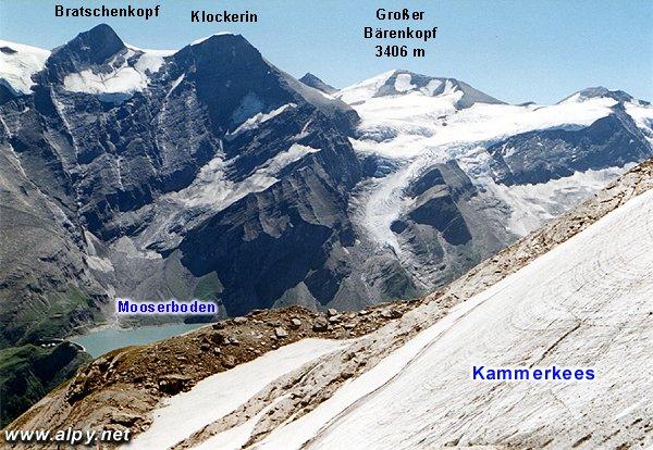 Kammerkees, Bratschenkopf, Klockerin, Grosser Bärenkopf, Mooserboden