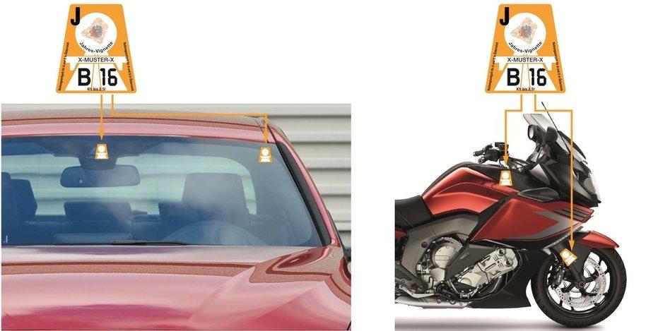 Kam nalepit rakouskou dálniční známku na auto a na motocykl