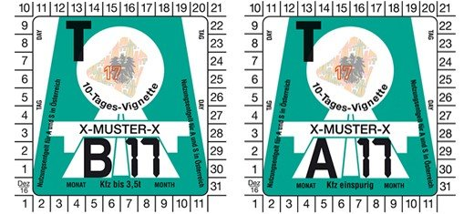 Rakouské dálniční známky - desetidenní