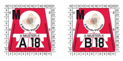 Rakouské dálniční známky - měsíční