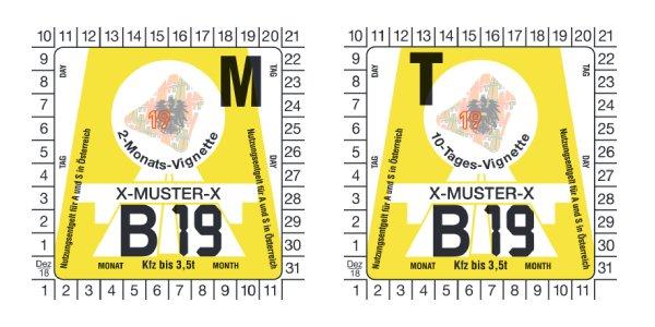 Rakouské dálniční známky - dvouměsíční a desetidenní