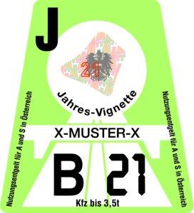 Rakouská dálniční známka - roční