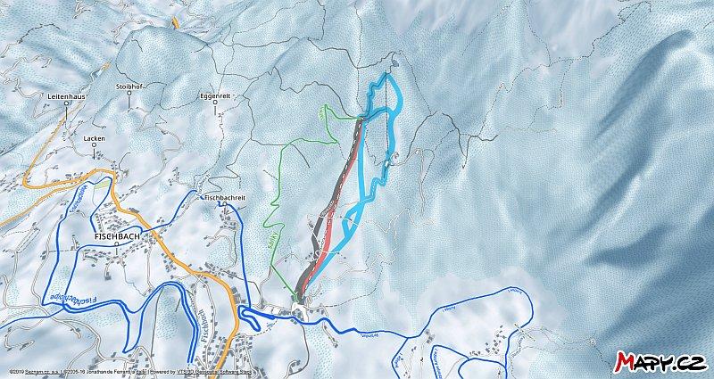3D zimní mapa lyžařské oblasti Abtenau im Lammertal