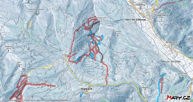 3D zimní mapa lyžařské oblasti Alpbach