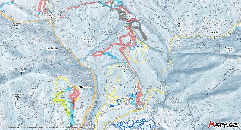 3D zimní mapa lyžařské oblasti St. Johann - Alpendorf