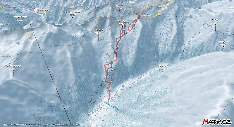 3D zimní mapa lyžařské oblasti Ankogel (Mallnitz)