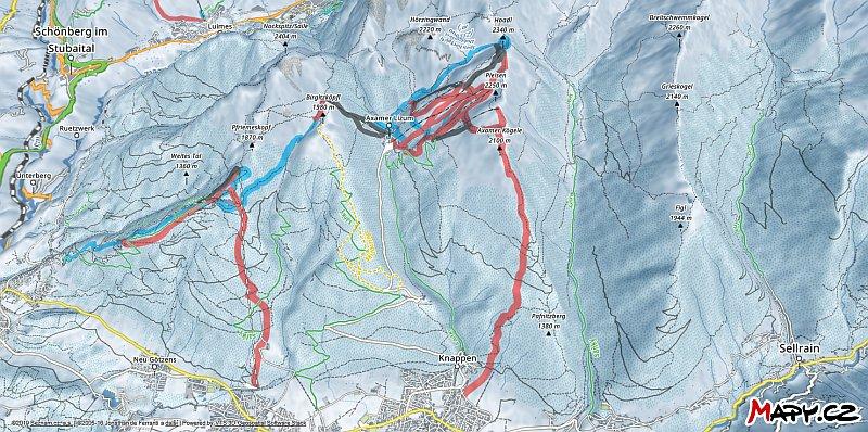 3D zimní mapa lyžařské oblasti Axamer Lizum