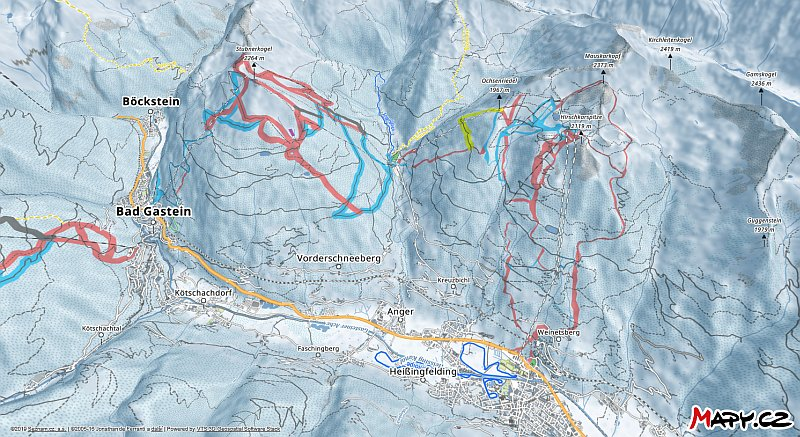 3D zimní mapa lyžařské oblasti Bad Hofgastein