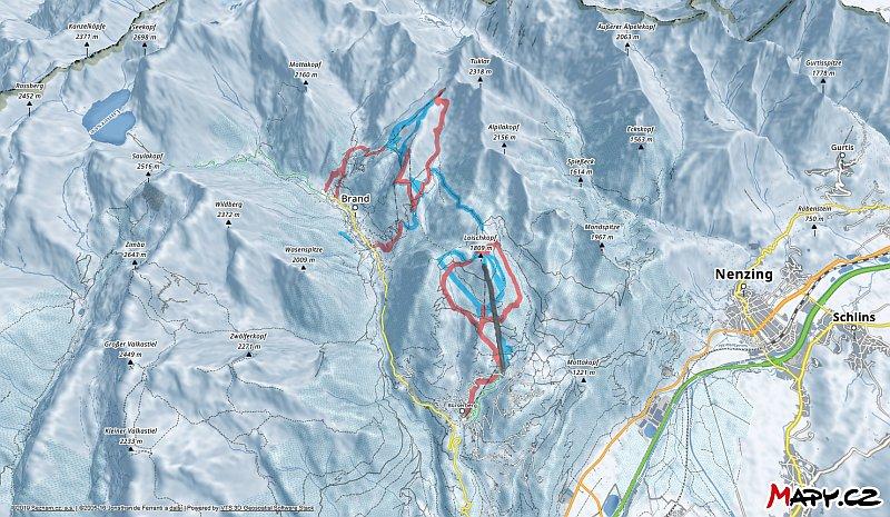 3D zimní mapa lyžařské oblasti Brandnertal