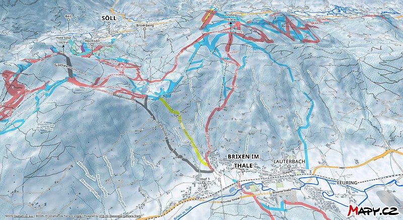 3D zimní mapa lyžařské oblasti Brixen im Thale