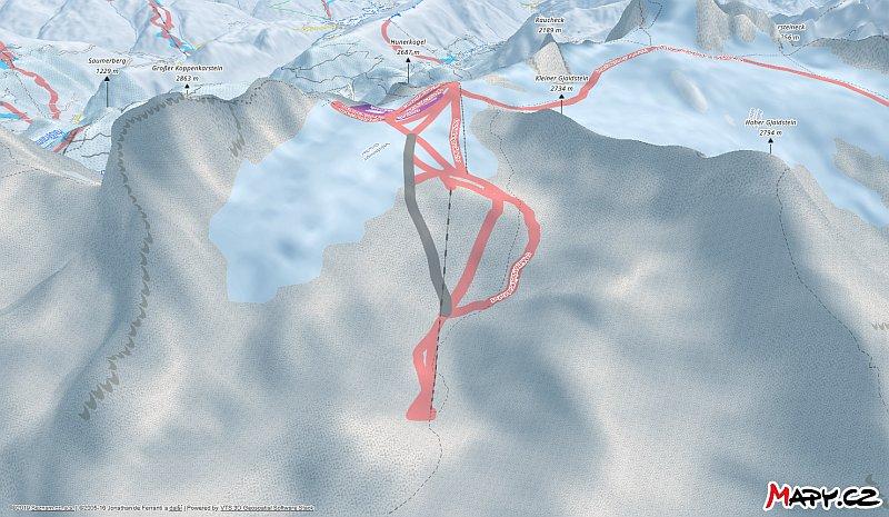 3D zimní mapa lyžařské oblasti Dachstein Gletscher