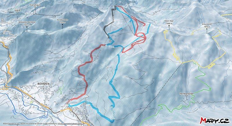 3D zimní mapa lyžařské oblasti Diedamskopf