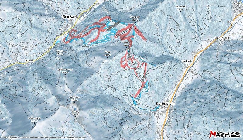 3D zimní mapa lyžařské oblasti Dorfgastein