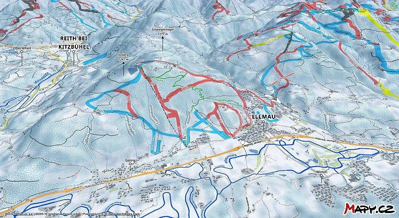 3D zimní mapa lyžařské oblasti Ellmau