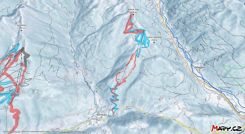 3D zimní mapa lyžařské oblasti Fageralm