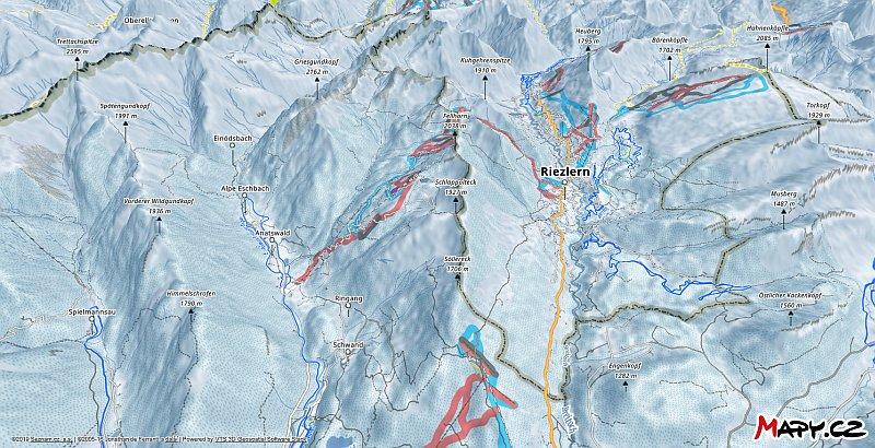 3D zimní mapa lyžařské oblasti Kleinwalsertal - Kanzelwand - Fellhorn