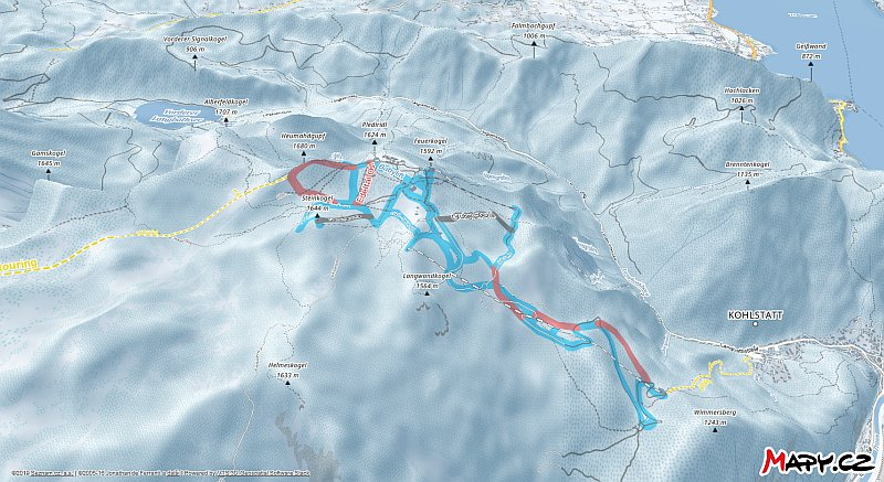 3D zimní mapa lyžařské oblasti Feuerkogel