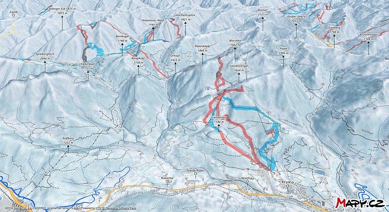 3D zimní mapa lyžařské oblasti