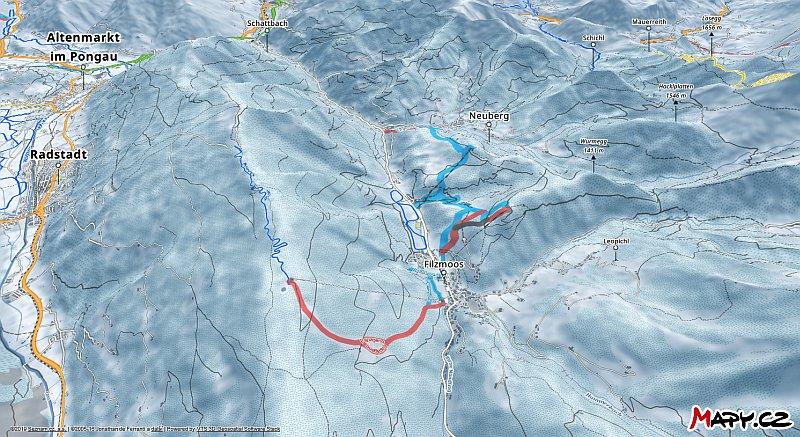 3D zimní mapa lyžařské oblasti Filzmoos