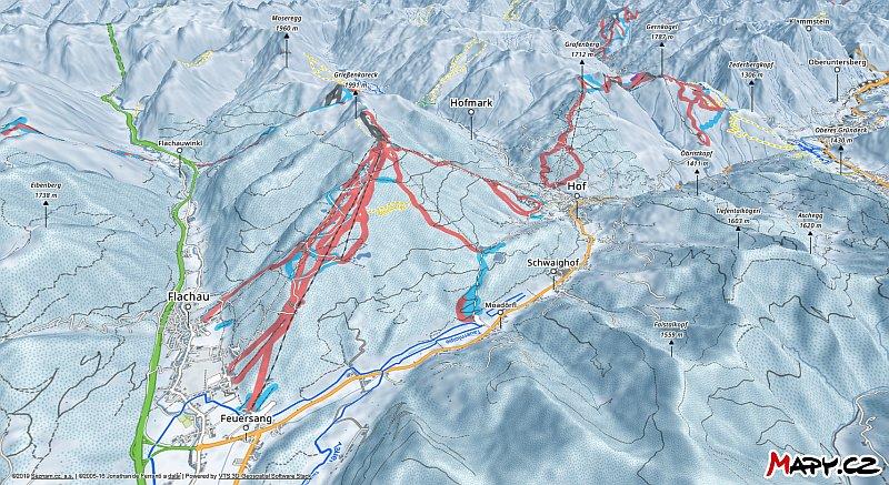 3D zimní mapa lyžařské oblasti Flachau