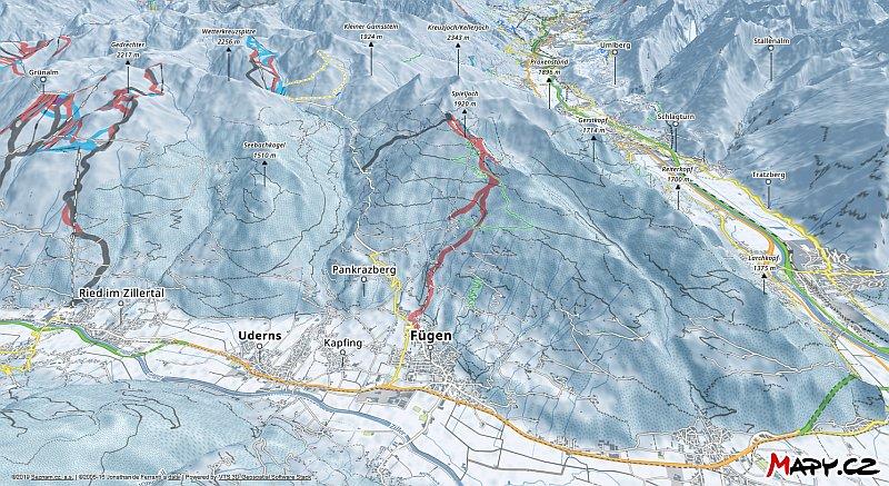 3D zimní mapa lyžařské oblasti Fügen - Spieljoch