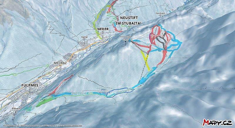 3D zimní mapa lyžařské oblasti Fulpmes - Schlick 2000