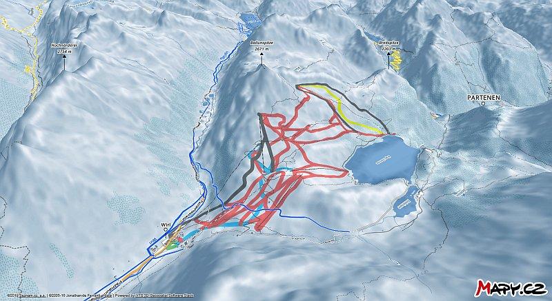 3D zimní mapa lyžařské oblasti Galtür