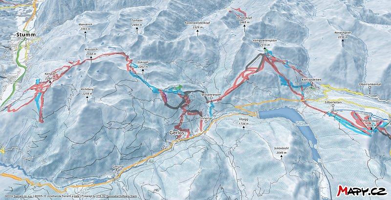 3D zimní mapa lyžařské oblasti Gerlos (Zillertal Arena)