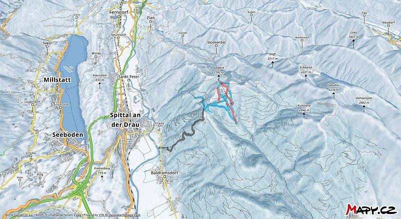3D zimní mapa lyžařské oblasti Goldeck am Millstätter See