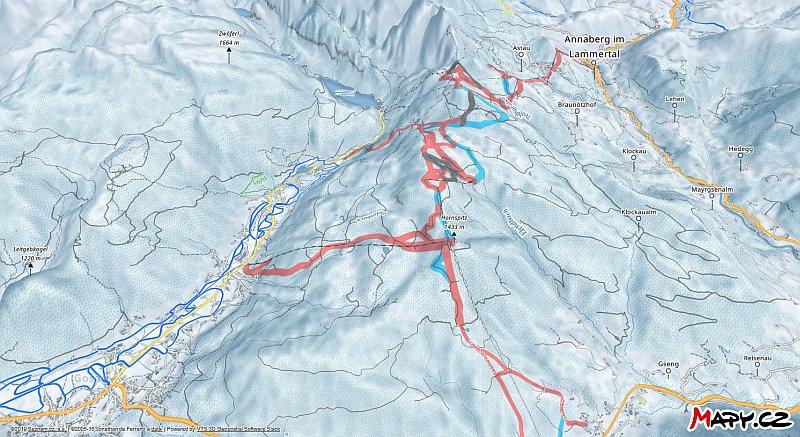 3D zimní mapa lyžařské oblasti Gosau - Zwieselalm