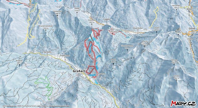 3D zimní mapa lyžařské oblasti Grossarltal