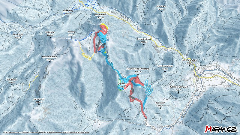 3D zimní mapa lyžařské oblasti Kasberg - Grünau