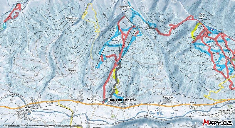 3D zimní mapa lyžařské oblasti Hauser Kaibling