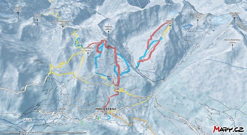 3D zimní mapa lyžařské oblasti Heiligenblut - Grossglockner