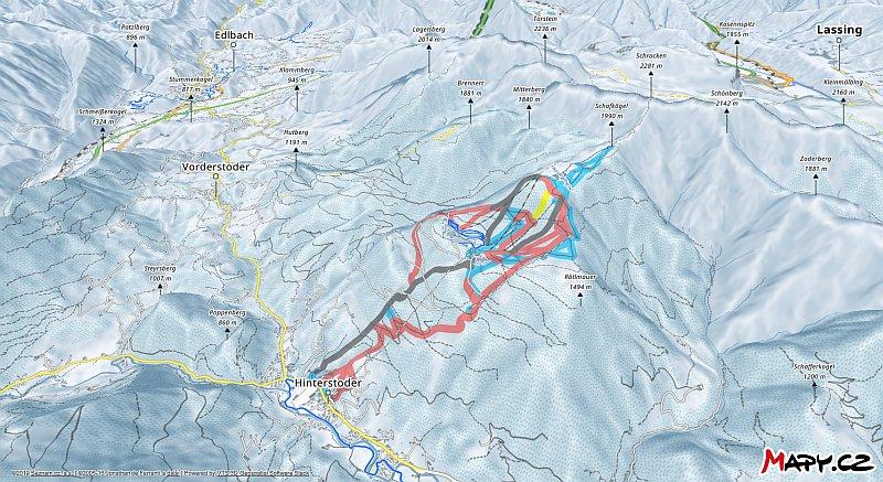 3D zimní mapa lyžařské oblasti Hinterstoder - Höss