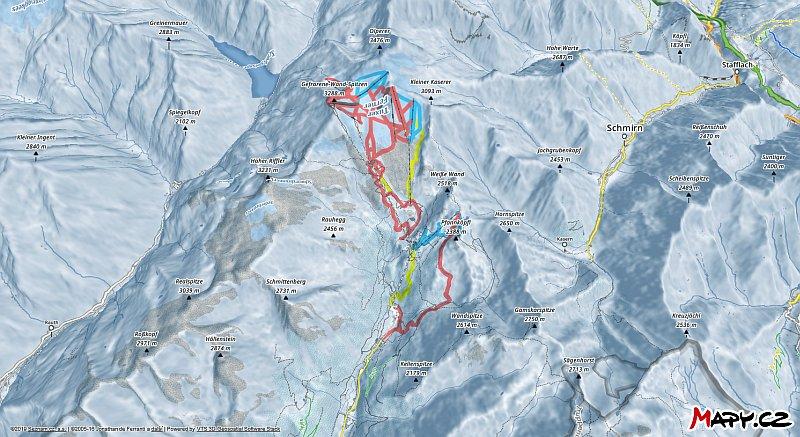 3D zimní mapa lyžařské oblasti Hintertuxer Gletscher (Hintertux)