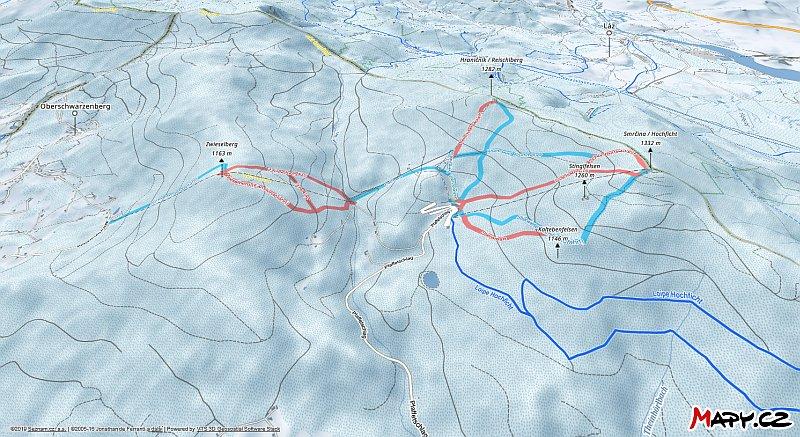 3D zimní mapa lyžařské oblasti Hochficht