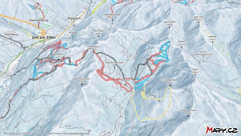 3D zimní mapa lyžařské oblasti Hochfügen - Hochzillertal - Kaltenbach