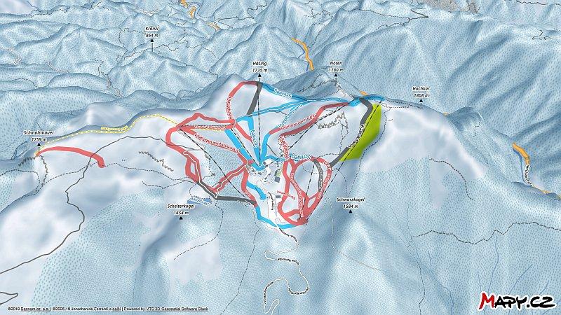 3D zimní mapa lyžařské oblasti Hochkar