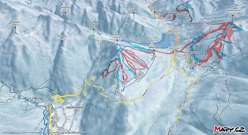 3D zimní mapa lyžařské oblasti Hochkrimml - Gerlosplatte